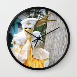Beautiful costumed woman posing at Annecy french venetian carnival Wall Clock