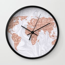 Rose Gold Glitter World Map on White Marble Wall Clock