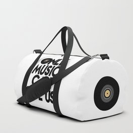 Only Music Can Save Us - Black  White Duffle Bag