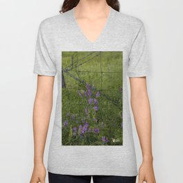 Purple Alfalfa flowers Unisex V-Neck