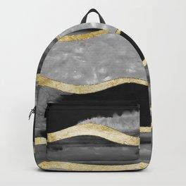 Black Gray White Agate Gold Stripe Glam #1 #gem #decor #art #society6 Backpack