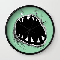 monster Wall Clocks featuring monster by Кaterina Кalinich