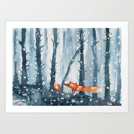 Foxes in forest Art Print