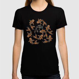 9 Koi Fish - 8 brightly colored koi and 1 black koi fish T-shirt