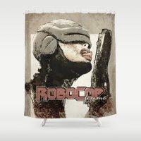 robocop Shower Curtains featuring Robocop Girl - Desafío52 by Marcos Raya Delgado