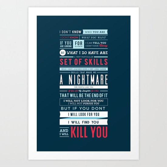 Taken Typographic Quote Poster - Liam Neeson Art Print