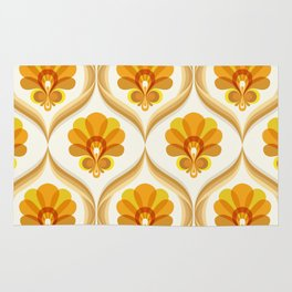 Ivory, Orange, Yellow and Brown Floral Retro Vintage Pattern Rug