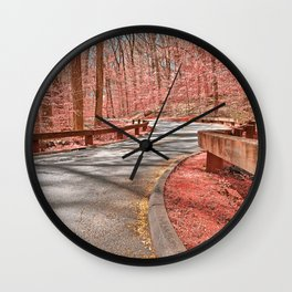Opalescent Forest Road Wall Clock