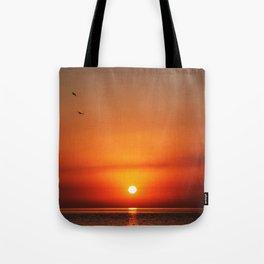 sunset,sea,birds Tote Bag