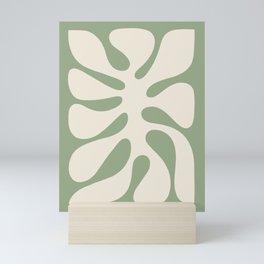 Abstract Monstera Leaf 6. Sage Mini Art Print