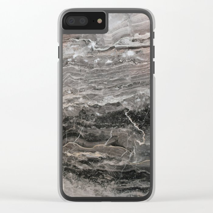 Smokey gray marble Clear iPhone Case