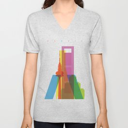 Shapes of Madrid. Accurate to scale. Unisex V-Neck