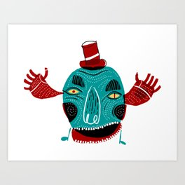 Monster with hat Art Print