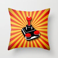 gaming Throw Pillows featuring Retro Gaming by MaNia Creations