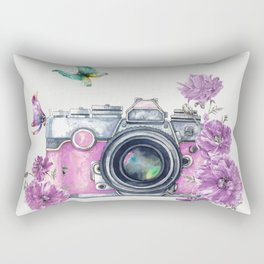 Camera with Summer Flowers 2 Rectangular Pillow