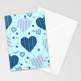 Elegant Blue Hearts Stationery Cards