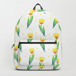 Modern yellow green watercolor tulips polka dots pattern Backpack