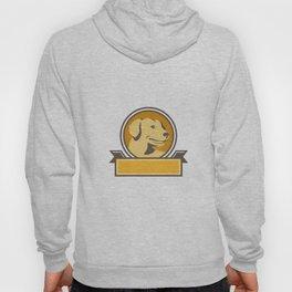 Yellow Labrador Golden Retriever Head Circle Retro Hoody