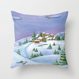 Landscape of a winter night Throw Pillow