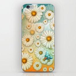 """Turquoise Moth &  Marguerites"" iPhone Skin"