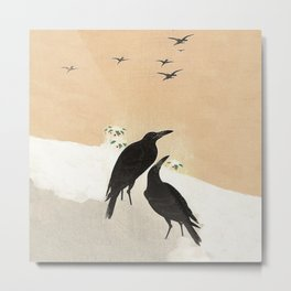 Crows from Koson Metal Print