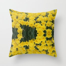 SPRING YELLOW DAFFODILS GARDEN DESIGN Throw Pillow