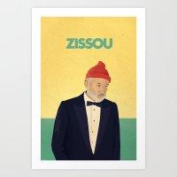 zissou Art Prints featuring Zissou by Virtual Window