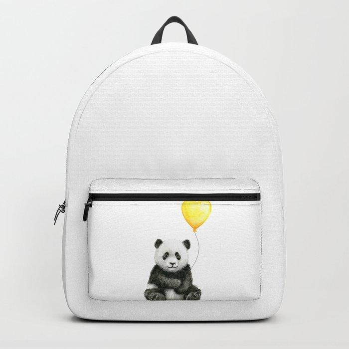 Panda with Yellow Balloon Baby Animal Watercolor Nursery Art Backpack