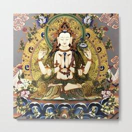 Chenrezig Avalokitesvara Bodhisattva Tibetan Buddhist Gray Metal Print