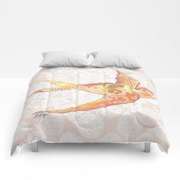 Orange Swallow Comforters