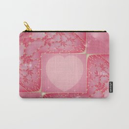 Heart Fractal Art - Abstract Fractal Art- Pink Heart- Gold- Pattern Art- Razzle Me- Sacred Geometry Carry-All Pouch