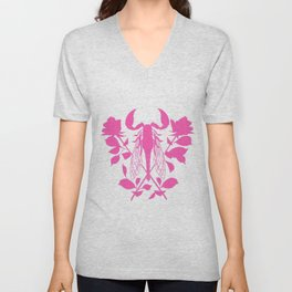 Pink locust of locust Tattoo w roses Unisex V-Neck