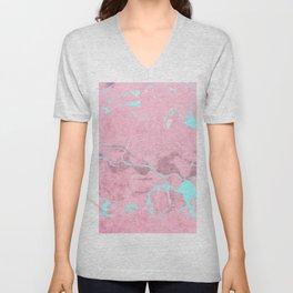 Pink Marble with Light Blue Unisex V-Neck
