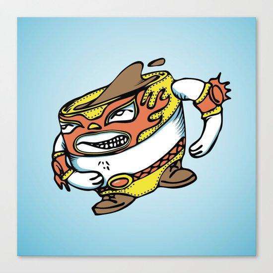 The flying luchador mug of coffee Canvas Print