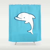 dolphin Shower Curtains featuring Dolphin by Josè Sala