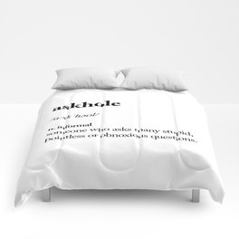 Askhole funny meme dictionary definition black and white typography design poster home wall decor Comforters