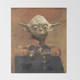 General Yoda Portrait Painting On Canvas | Fan Art Throw Blanket