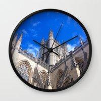 downton abbey Wall Clocks featuring Bath Abbey by Casey J. Newman