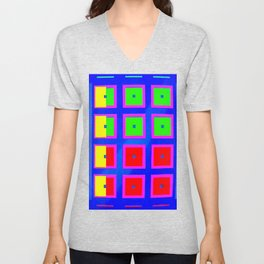 Digital Abstract with red squares on blue Unisex V-Neck
