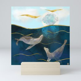 Sea Lions Playing with the Moon - Underwater Dreams Mini Art Print