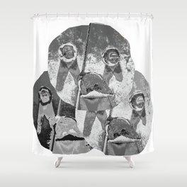 faucet face b&w triad Shower Curtain