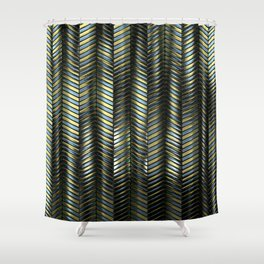 Alien Columns - Blue and Gold Shower Curtain