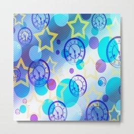 Stars, Clocks, and Circles (Blue) Metal Print
