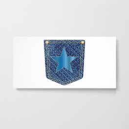 Star Denim Pocket Metal Print