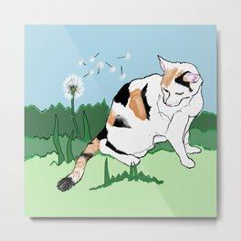 Calico Cat and Dandelion Metal Print