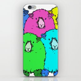 Looking at you - a flock of cute, colourful, sheep iPhone Skin