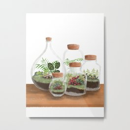 Terrarium art print, botanical illustration, small garden Metal Print