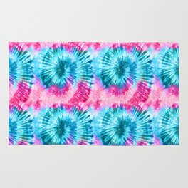 Summer Vibes Tie Dye Spirals in Pink Blue Rug