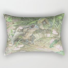 Toad with Cherry Blossom Petals Rectangular Pillow