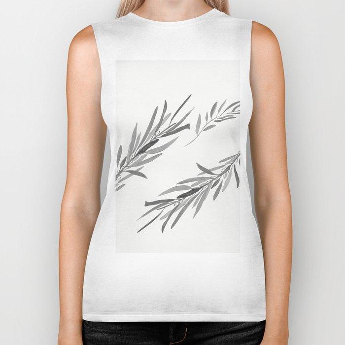 Eucalyptus leaves black and white Biker Tank